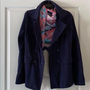 Anthro Blue Cotton Knit Jacket